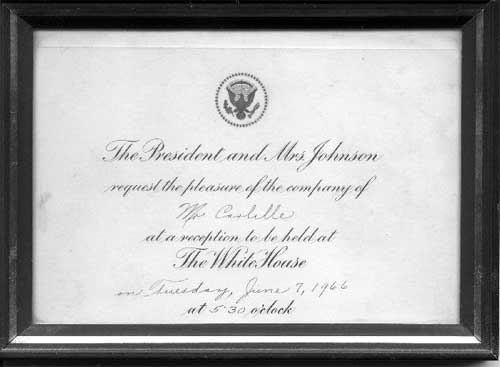 Thumbs Carlille's Invitation to the white house, June 1966