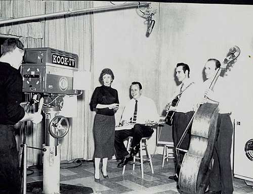 Thumbs and Virginia Carllile in KOOK TV studio about 1958